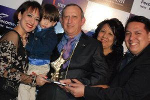 O empresário Devanir com a esposa Elza, os filhos Claudinha e Junior e o neto Otavio